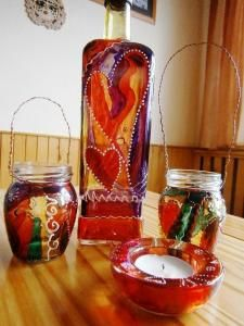 Maľovanie na sklo - Candle Holders, Candles, Glass, Drinkware, Corning Glass, Candy, Light House, Candle, Candle Stands