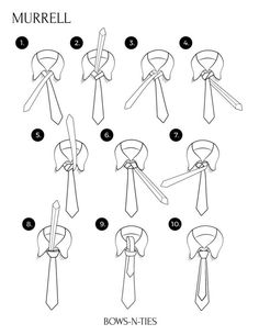 Murrell Instructions - Fun Fact: Inspired the Merovingian tie used in The Matrix - Brent Murrell created this knot back in 1995 as an adaptation of the Windsor. The actual knot itself is very similar to that of the Windsor but the difference lies where the large end hangs behind the tail end of the tie creating an unorthodox look.
