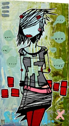 Aaron Kraten   Self Taught    My art has a strong pop culture and graffiti influence , I really dig incorporating my surroundings into the finished pieces. The art is mostly mixed media on either wood or canvas , I dont use brushes and most of my methods are unconventional which keeps the creative wheels always turning to make new and exciting work.  Currently:  I paint full time and I show about 4 times a year.  I can truly say these are the best days of my life.  - Aaron Kraten