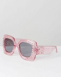 8dc1949869 ASOS Oversized Square Embellished Sunglasses Holiday Wardrobe