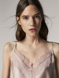 Spring Summer 2017 Women´s SILK TOP WITH LACE AND GROSGRAIN DETAIL at Massimo Dutti for 1645. Effortless elegance!