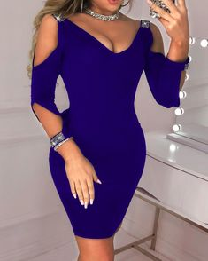 Sequined Women Dress Bodycon Could Shoulder Sheath Dress V Neck Summer Party Dress Sexy Vestidos Elegant Dresses, Sexy Dresses, Casual Dresses, Bodycon Dress With Sleeves, Sheath Dress, Sexy Party Dress, Dress Cuts, Mode Outfits, Lingerie