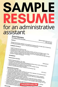 This example resume for an administrative assistant shows you how to design your resume if you've held a lot of jobs in a short time through a temporary employment agency. #resumes #jobhunt #careerchoiceguide Resume Writing Tips, Resume Tips, Resume Examples, Sample Resume, Cover Letter Tips, Writing A Cover Letter, Cover Letters, Administrative Assistant Resume, Job Hunting Tips