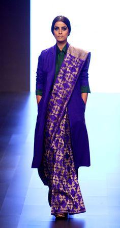payalkhandwala - AW/2016 - Silk Shirt, Silk Jacket and Silk Brocade Saree