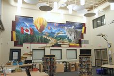 Lorenville PS Library 639 :: School Murals Custom designed airbrushed murals interior or exterior large scale murals painted in Schools, corporate, commercial, and residential School Murals, Schools, Ps, Custom Design, Scale, Commercial, Gallery Wall, Exterior, Painting