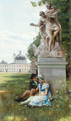 Mønsted, Peder Mørk (b,1859)- Romantic Couple- Fredensborgs Park, Stockholm, 1894 -2d