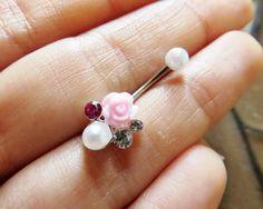 16 Gauge Boquet Rook Jewelry Piercing Pink Rose Pearl Crystal Gem Cluster Earring Ear Ring Barbell 16g G Ga Eyebrow Bar #azeeta, #designs, #bouquet, #rook #pink, #rose