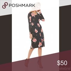 Black & Burgundy Floral Midi Dress Top- Selling Floral Dress in Black & Burgundy w/ pockets. Fabric: 95% Polyester 5% Spandex. Made in the USA. ❌No Trades. All Prices are firm in the boutique!! Dresses Midi
