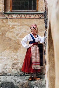 She is dressed in the traditional peasant style. Folk Costume, Costumes, Folk Clothing, Information Center, Traditional Outfits, Mythology, Cosplay, Collection, Finland
