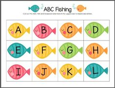 ABC Fishing FREEBIE!! Uppercase/Lowercase Match & writing practice printable!  Visit www.littlelearninglane.com for more fun ideas & free printables!