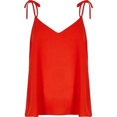 Red bow shoulder cami top - cami / sleeveless tops - tops - women
