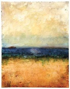 Distant Freighter (re-inker glaze and acrylic on wood panel) by Serena Barton #AbstractArt #WabiSabi