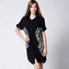 High-end Spring Summer Women Blouse Floral Print Long Chiffon Shirts Dress Short Sleeve Casual Blouse Blusa
