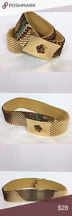 """Vintage Gold Mermaid Fish Scale Stretch Cinch Belt Vintage Mid-Century Gold Mermaid Fish Scale Stretch Cinch Belt. Measurements of the belt in inches: Width: 1 3/4"""" Length: 23""""- 29"""" Feel free to contact me with any questions you may have about this belt. Please take a look at my other unique listings too. Thanks!! Vintage Accessories Belts"""