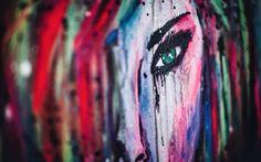 Art from me. www.artbytess.se Eyes girl acrylic akryl painting