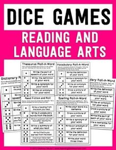 FREEBIE - Reading, Spelling, and Language Arts Dice Games.