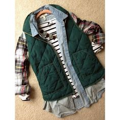 Women's Plaid Down Vest ❤ liked on Polyvore featuring outerwear, vests, tartan vest, green plaid vest, green waistcoat, plaid vest and green vest