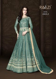Sizzling Grey Color Heavy Net Embroidered Wedding Wear Anarkali Suit - All About Indian Bridal Lehenga, Indian Gowns, Indian Wear, Long Anarkali, Anarkali Suits, Anarkali Gown, Asian Bridal Dresses, Bridal Outfits, Designer Anarkali Dresses