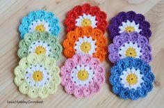 9 x uncinetto fiori di colori arcobaleno fiori