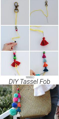 Jul 2019 - Super simple, no-sew tassel key fob. Multicolor tassels add style to your handbag, backpack, or luggage. DIY fashion accessories made easy. Tassel Keychain, Diy Keychain, Pom Pom Crafts, Yarn Crafts, Embroidery Floss Crafts, Diy Fashion No Sew, How To Make Tassels, Diy Accessoires, Diy Tassel