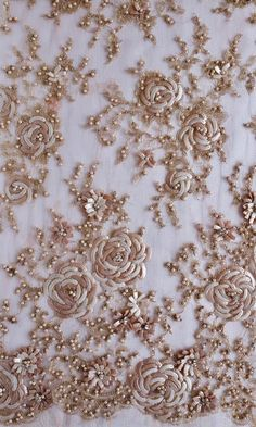 Embroidery Roses French Lace sequined with abstract roses in a field of pearls Zardozi Embroidery, Bead Embroidery Patterns, Hand Work Embroidery, Couture Embroidery, Embroidery Fashion, Embroidery Fabric, Hand Embroidery Designs, Lace Fabric, Beaded Embroidery