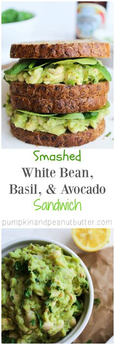 Smashed White Bean, Basil, & Avocado Sandwich {vegan, gluten free} A yummy healthy lunch recipe! Veggie Recipes, Lunch Recipes, Whole Food Recipes, Vegetarian Recipes, Cooking Recipes, Healthy Recipes, Veggie Food, Simple Recipes, Snacks