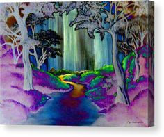 Canvas Print, landscape,forest,woodland,scene,nature,glade,woods,trees,grass,vegetation,woods,country,outdoors,creek,stream,falls,waterfalls,brook,river,path,light,water,fairytale,peaceful,serene,tranquil,joy,happy,uplifting,land,magical,enchanting,whimsical,poetic,lyrical,fantasy,imagination,decor,kids,children,colors,colorful,multicolored,in,at,by,of,for,with,the,purple,fine,art,mixed,media,ink,digital,paintings,artworks,products,items,for sale,online,fine art america
