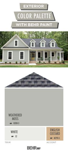 You've decorated the inside of your home Now it's time to focus on the outside Get your DIY exterior home makeover project off to a beautiful start with this Behr Paint colour palette Neutral shades of grey and white come together with a warm - #