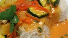 This is a quick and easy curry stir-fry made with chicken, zucchini, red bell pepper and carrot. Coconut milk and curry paste make an irresistible sauce. No need to go out to eat, as this dish is ready in about 20 minutes!