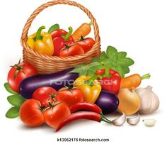 Stock Illustration of Background with fresh vegetables in basket. Healthy Food. Vector illustration k13062176 - Search Clip Art, Drawings, Fine Art Prints, Illustrations, and Vector EPS Graphics Images - k13062176.eps