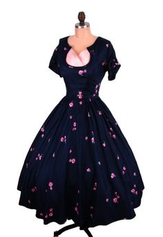 RESERVED for Vintagelover13-Vintage 1950's 50's Navy Blue Silk Bombshell Floral Pink Pleated Shelf Bust Cocktail Party Dress