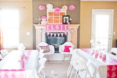 pink popcorn ready to pop baby shower pink decorations banner tissue poms