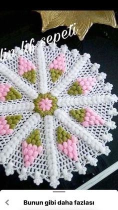 This post was discovered by Funda AYBAL. Discover (and save!) your own Posts on Unirazi.Gorgeous Flower to Crochet Crochet Doily Patterns, Crochet Squares, Crochet Designs, Crochet Doilies, Crochet Flowers, Embroidery Patterns, Knitting Patterns, Cute Crochet, Crochet Crafts