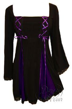 Dare To Wear Victorian Gothic Women's Gemini Princess Corset Top Black/Purple