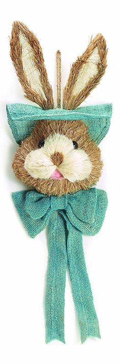 Rustic Spring Bunny Head Sisal and Burlap Hanging Wall Decoration - 3 variants