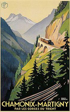 Chamonix-Martigny Poster Vintage Werbeplakat (61cm x 91,5cm) + Ü-Poster