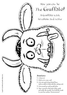 Getting ready for the Gruffalo coming to Skirball on April 27, 2013! Here's an easy to make Gruffalo Mask: just print it out and color!