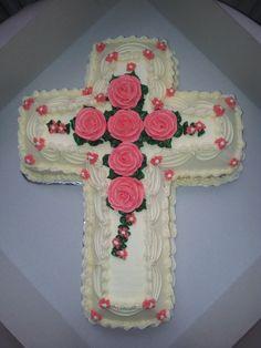 Buttercream roses on cross cake / Baptism / First Holy Communion (Cakes)