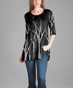 Look what I found on #zulily! Black & Gray Branches Tunic - Plus Too #zulilyfinds