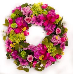 Pink Peony and Lime Green Hydrangea Summer Wreath - SW623
