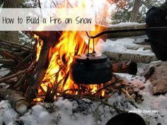 How to build a fire on the snow. Great survival tip!