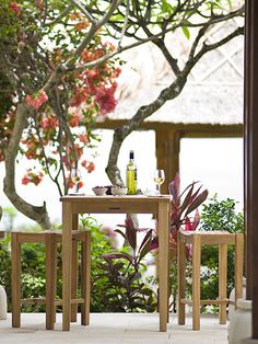 teak patio outdoor dining set | small gathering table + 2-4 stools