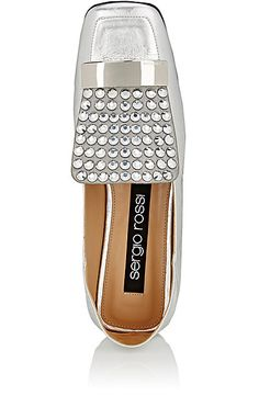 Sergio Rossi Crystal-Embellished Laminated Leather Loafers - Loafers & Oxfords - 505062690