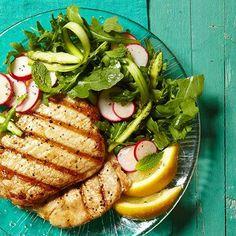 Grilled Pork with Shaved Asparagus Salad
