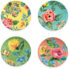 Melamine Garden Floral Assorted Salad Plate (Set of Pottery Painting, Ceramic Painting, Ceramic Art, Painted Ceramic Plates, Painted Ceramics, Cute Car Accessories, Plate Art, Plate Design, Floral Wall