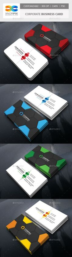 Business Card Bundle 3 in 63 by -axnorpix Features : • Round /square corner possible. • Easy to edit. • Landscape Design.• Optimized for printing / 300 dpi. • CMYK color mo 3d Printing Business, Business Card Psd, Corporate Business, Business Card Design, Plastic Business Cards, Bussiness Card, Geometric Logo, Grafik Design, Photoshop