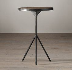 "$195 15""D x 23.5H Elm & Iron Tripod  Side Table"