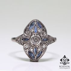 Antique Art Deco 18K Gold Diamond & Sapphire Ring