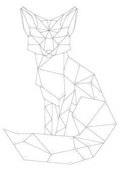 DIY Geometric Pallet Wood Fox - Imgur Doodle Drawing, Fox Drawing, Geometric Drawing, Geometric Art, Geometric Designs, Geometric Animal, Polygon Art, Pallet Wood, Pallet Art