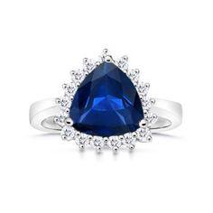 Trillion Sapphire and Round Diamond Border Ring Natural Sapphire Rings, Blue Sapphire Rings, Sapphire Solitaire Ring, Buy Gemstones, Vintage Rings, Fireworks, Round Diamonds, Gemstone Jewelry, Jewlery